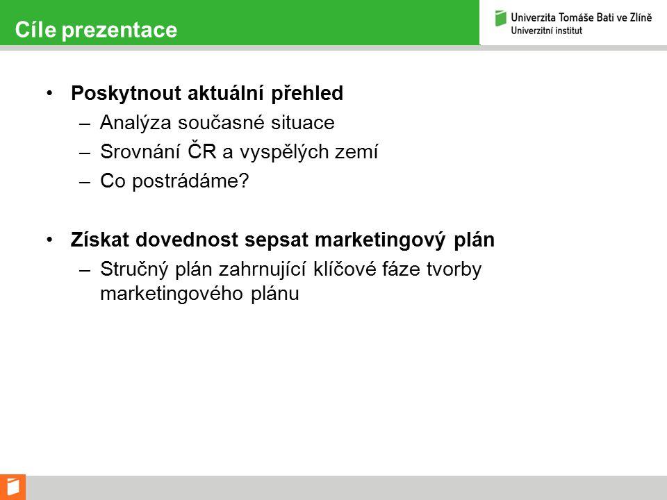 Cíle prezentace Poskytnout aktuální přehled –Analýza současné situace –Srovnání ČR a vyspělých zemí –Co postrádáme.
