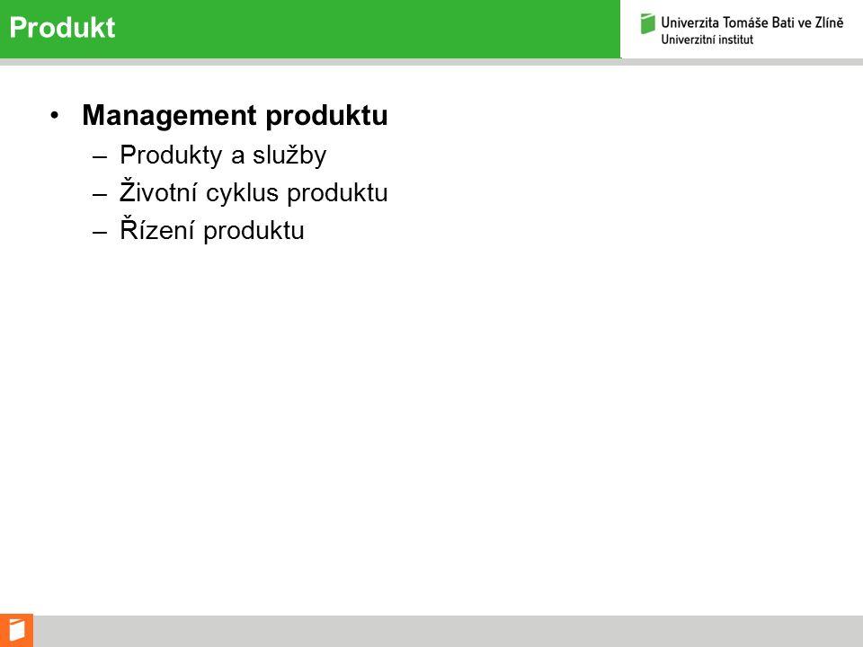 Produkt Management produktu –Produkty a služby –Životní cyklus produktu –Řízení produktu