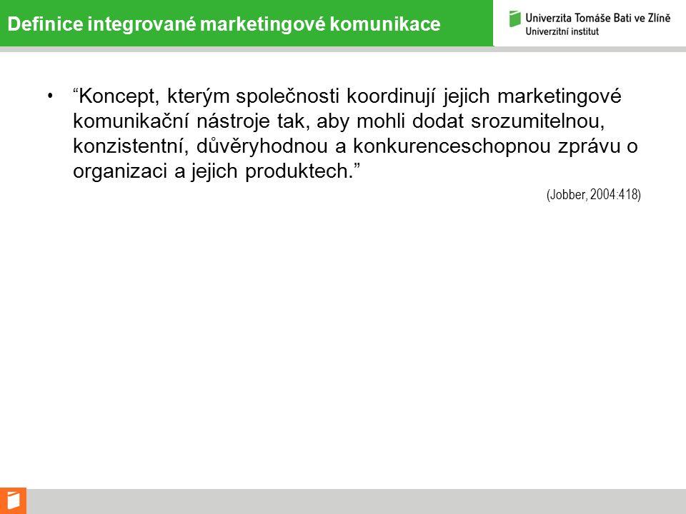 Definice integrované marketingové komunikace Koncept, kterým společnosti koordinují jejich marketingové komunikační nástroje tak, aby mohli dodat srozumitelnou, konzistentní, důvěryhodnou a konkurenceschopnou zprávu o organizaci a jejich produktech. (Jobber, 2004:418)