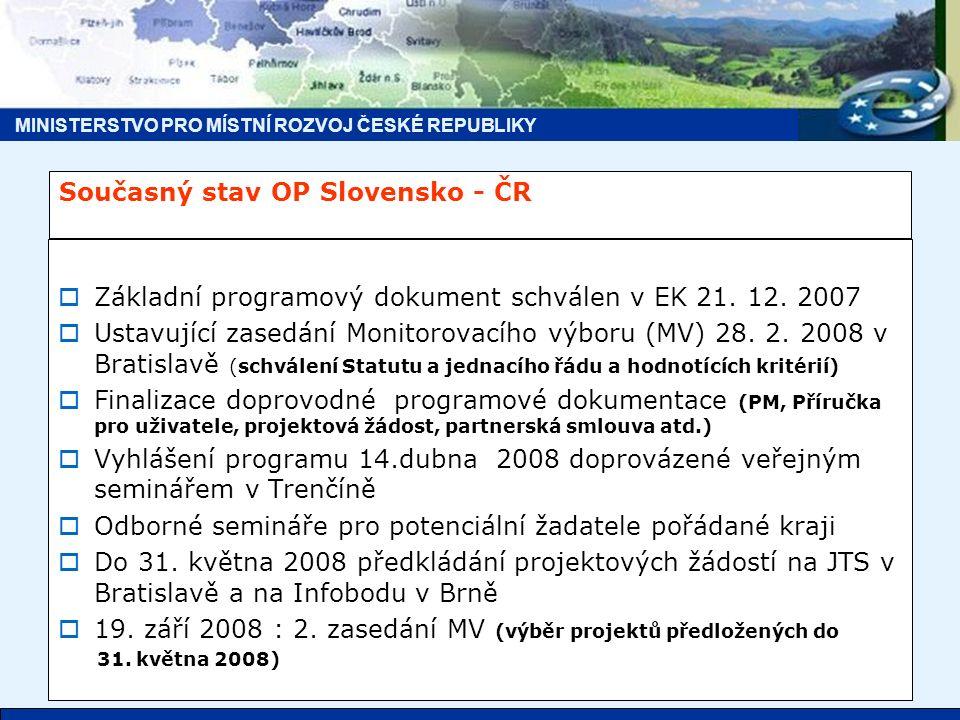 MINISTERSTVO PRO MÍSTNÍ ROZVOJ ČESKÉ REPUBLIKY Současný stav OP Slovensko - ČR  Základní programový dokument schválen v EK 21.