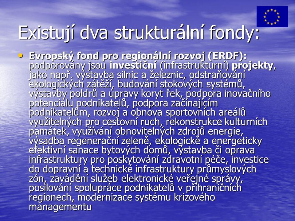 Existují dva strukturální fondy: Evropský fond pro regionální rozvoj (ERDF): podporovány jsou investiční (infrastrukturní) projekty, jako např.