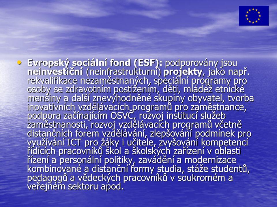 Evropský sociální fond (ESF): podporovány jsou neinvestiční (neinfrastrukturní) projekty, jako např.