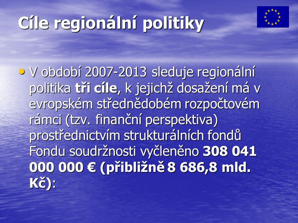 Cíle regionální politiky V období 2007-2013 sleduje regionální politika tři cíle, k jejichž dosažení má v evropském střednědobém rozpočtovém rámci (tzv.