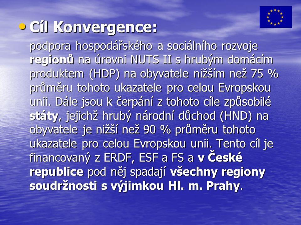Cíl Konvergence: Cíl Konvergence: podpora hospodářského a sociálního rozvoje regionů na úrovni NUTS II s hrubým domácím produktem (HDP) na obyvatele nižším než 75 % průměru tohoto ukazatele pro celou Evropskou unii.