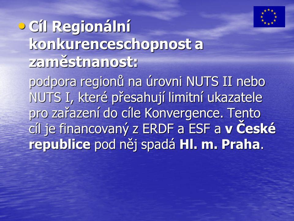 Cíl Regionální konkurenceschopnost a zaměstnanost: Cíl Regionální konkurenceschopnost a zaměstnanost: podpora regionů na úrovni NUTS II nebo NUTS I, které přesahují limitní ukazatele pro zařazení do cíle Konvergence.
