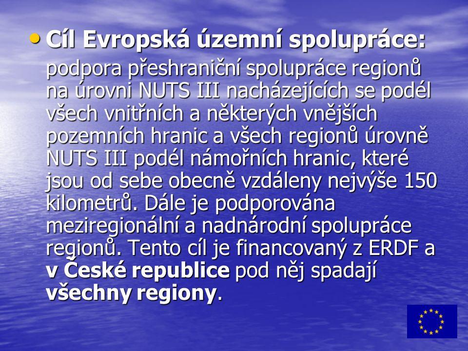 Cíl Evropská územní spolupráce: Cíl Evropská územní spolupráce: podpora přeshraniční spolupráce regionů na úrovni NUTS III nacházejících se podél všech vnitřních a některých vnějších pozemních hranic a všech regionů úrovně NUTS III podél námořních hranic, které jsou od sebe obecně vzdáleny nejvýše 150 kilometrů.