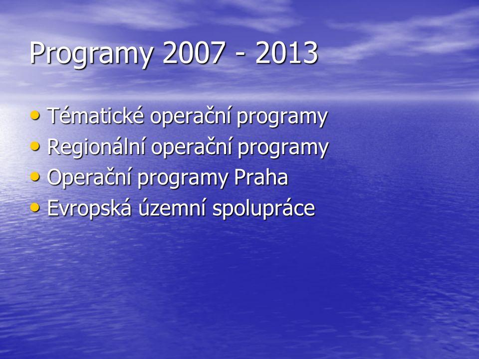 Programy 2007 - 2013 Tématické operační programy Tématické operační programy Regionální operační programy Regionální operační programy Operační programy Praha Operační programy Praha Evropská územní spolupráce Evropská územní spolupráce