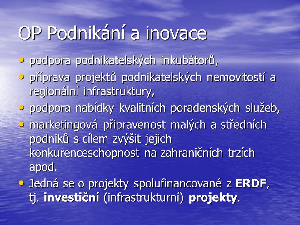 OP Podnikání a inovace podpora podnikatelských inkubátorů, podpora podnikatelských inkubátorů, příprava projektů podnikatelských nemovitostí a regionální infrastruktury, příprava projektů podnikatelských nemovitostí a regionální infrastruktury, podpora nabídky kvalitních poradenských služeb, podpora nabídky kvalitních poradenských služeb, marketingová připravenost malých a středních podniků s cílem zvýšit jejich konkurenceschopnost na zahraničních trzích apod.