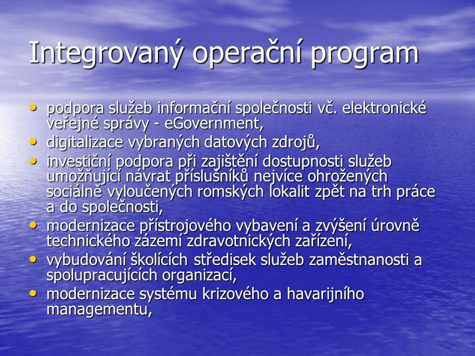 Integrovaný operační program podpora služeb informační společnosti vč.