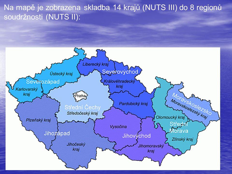 Na mapě je zobrazena skladba 14 krajů (NUTS III) do 8 regionů soudržnosti (NUTS II):