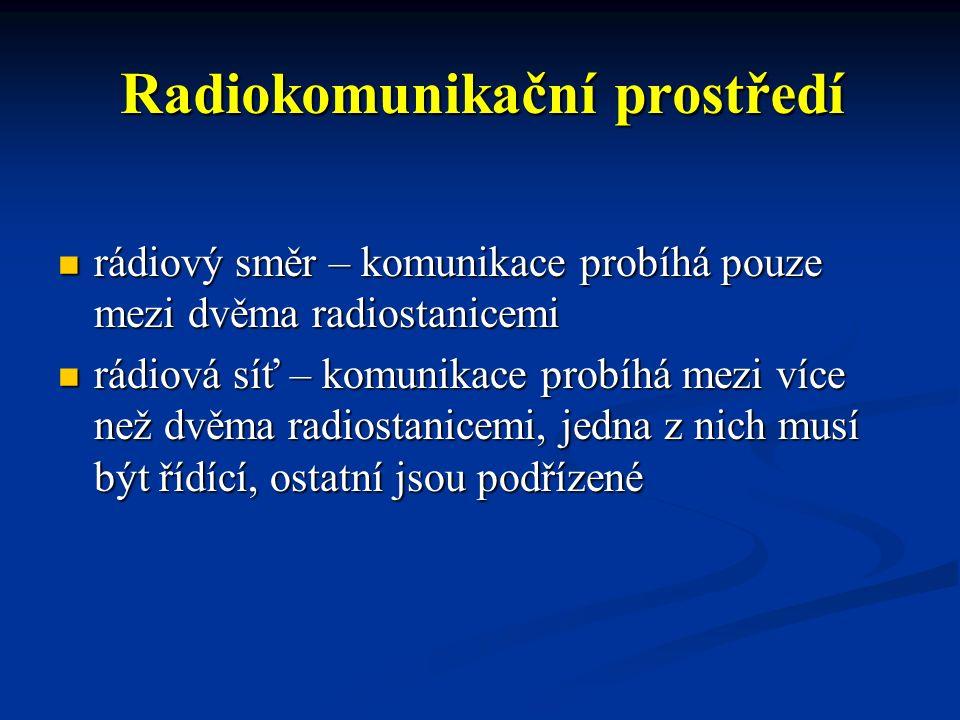 Radiokomunikační prostředí rádiový směr – komunikace probíhá pouze mezi dvěma radiostanicemi rádiový směr – komunikace probíhá pouze mezi dvěma radios