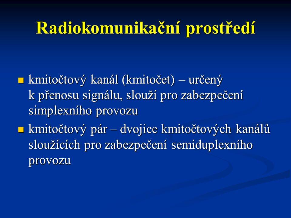 Radiokomunikační prostředí kmitočtový kanál (kmitočet) – určený k přenosu signálu, slouží pro zabezpečení simplexního provozu kmitočtový kanál (kmitoč