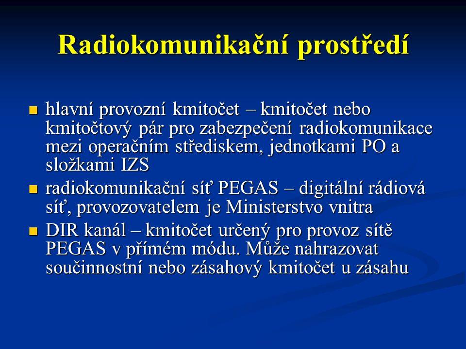 Radiokomunikační prostředí hlavní provozní kmitočet – kmitočet nebo kmitočtový pár pro zabezpečení radiokomunikace mezi operačním střediskem, jednotka