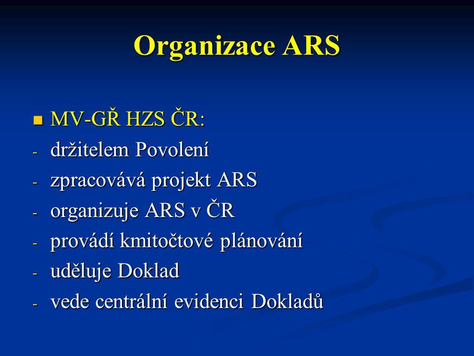 Organizace ARS MV-GŘ HZS ČR: MV-GŘ HZS ČR: - držitelem Povolení - zpracovává projekt ARS - organizuje ARS v ČR - provádí kmitočtové plánování - uděluje Doklad - vede centrální evidenci Dokladů