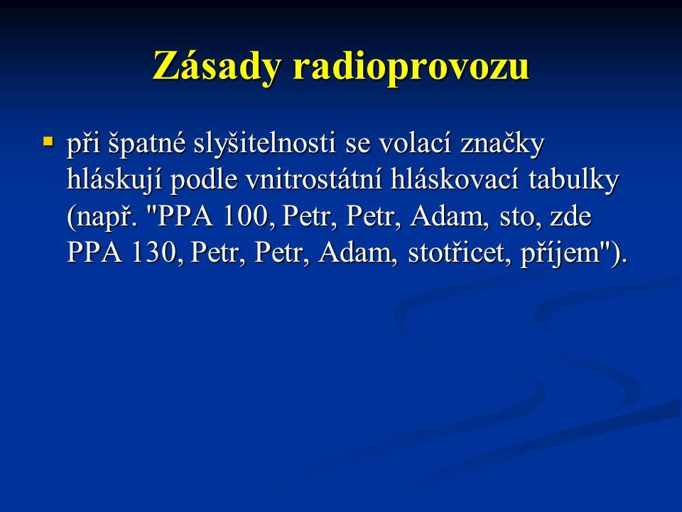 Zásady radioprovozu  při špatné slyšitelnosti se volací značky hláskují podle vnitrostátní hláskovací tabulky (např.