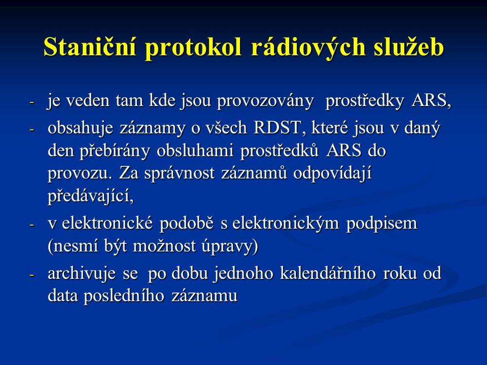 Staniční protokol rádiových služeb - je veden tam kde jsou provozovány prostředky ARS, - obsahuje záznamy o všech RDST, které jsou v daný den přebírány obsluhami prostředků ARS do provozu.