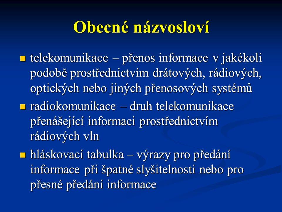 Obecné názvosloví telekomunikace – přenos informace v jakékoli podobě prostřednictvím drátových, rádiových, optických nebo jiných přenosových systémů