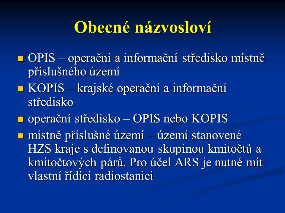 Obecné názvosloví OPIS – operační a informační středisko místně příslušného území OPIS – operační a informační středisko místně příslušného území KOPIS – krajské operační a informační středisko KOPIS – krajské operační a informační středisko operační středisko – OPIS nebo KOPIS operační středisko – OPIS nebo KOPIS místně příslušné území – území stanovené HZS kraje s definovanou skupinou kmitočtů a kmitočtových párů.