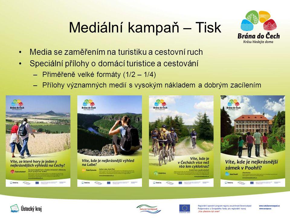 Mediální kampaň – Tisk Media se zaměřením na turistiku a cestovní ruch Speciální přílohy o domácí turistice a cestování –Přiměřeně velké formáty (1/2 – 1/4) –Přílohy významných medií s vysokým nákladem a dobrým zacílením