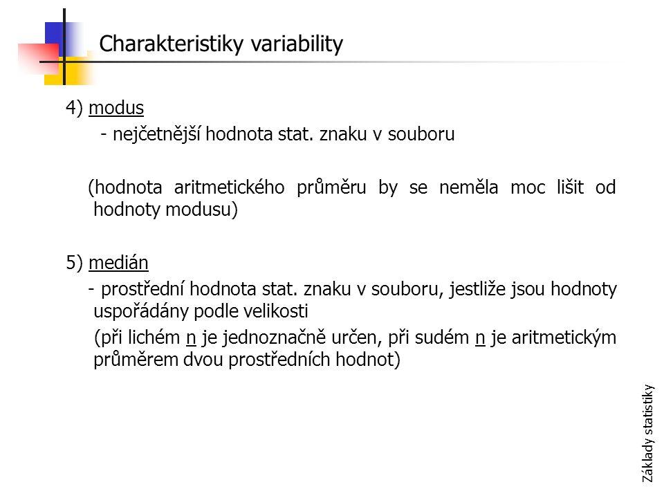 Základy statistiky 4) modus - nejčetnější hodnota stat.