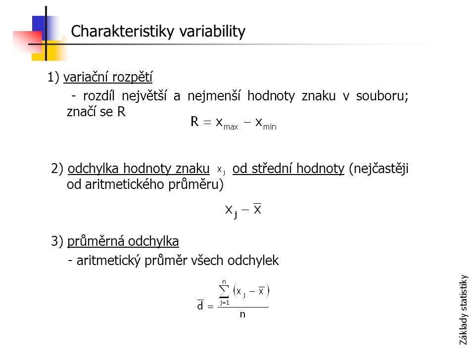 Základy statistiky 1) variační rozpětí - rozdíl největší a nejmenší hodnoty znaku v souboru; značí se R 2) odchylka hodnoty znaku od střední hodnoty (nejčastěji od aritmetického průměru) 3) průměrná odchylka - aritmetický průměr všech odchylek Charakteristiky variability