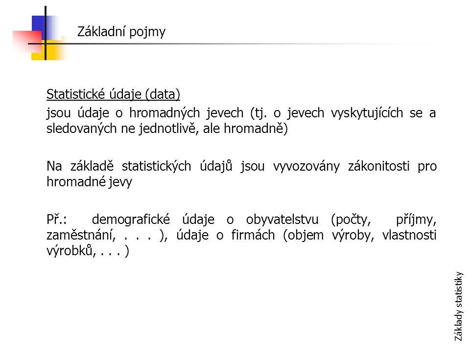 Základy statistiky Statistický soubor je množina všech objektů statistického pozorování (žáci jedné školy, obyvatelé ČR, chemické továrny kraje Vysočina apod.) Počet prvků stat.