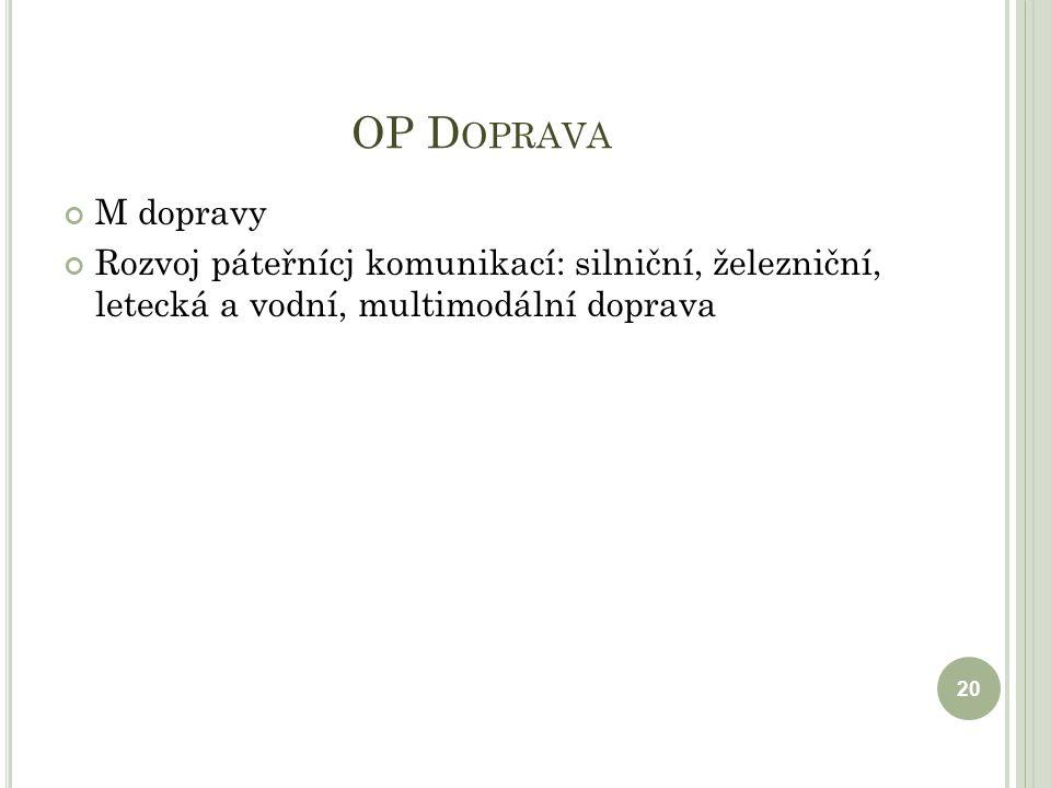 OP D OPRAVA M dopravy Rozvoj páteřnícj komunikací: silniční, železniční, letecká a vodní, multimodální doprava 20