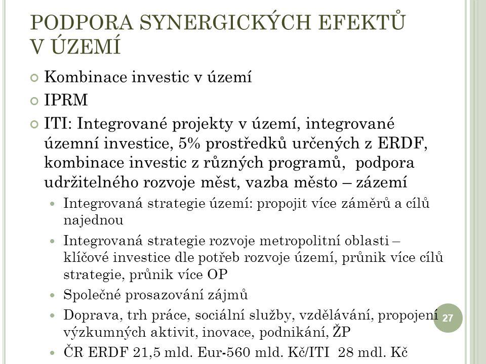 PODPORA SYNERGICKÝCH EFEKTŮ V ÚZEMÍ Kombinace investic v území IPRM ITI: Integrované projekty v území, integrované územní investice, 5% prostředků určených z ERDF, kombinace investic z různých programů, podpora udržitelného rozvoje měst, vazba město – zázemí Integrovaná strategie území: propojit více záměrů a cílů najednou Integrovaná strategie rozvoje metropolitní oblasti – klíčové investice dle potřeb rozvoje území, průnik více cílů strategie, průnik více OP Společné prosazování zájmů Doprava, trh práce, sociální služby, vzdělávání, propojení výzkumných aktivit, inovace, podnikání, ŽP ČR ERDF 21,5 mld.