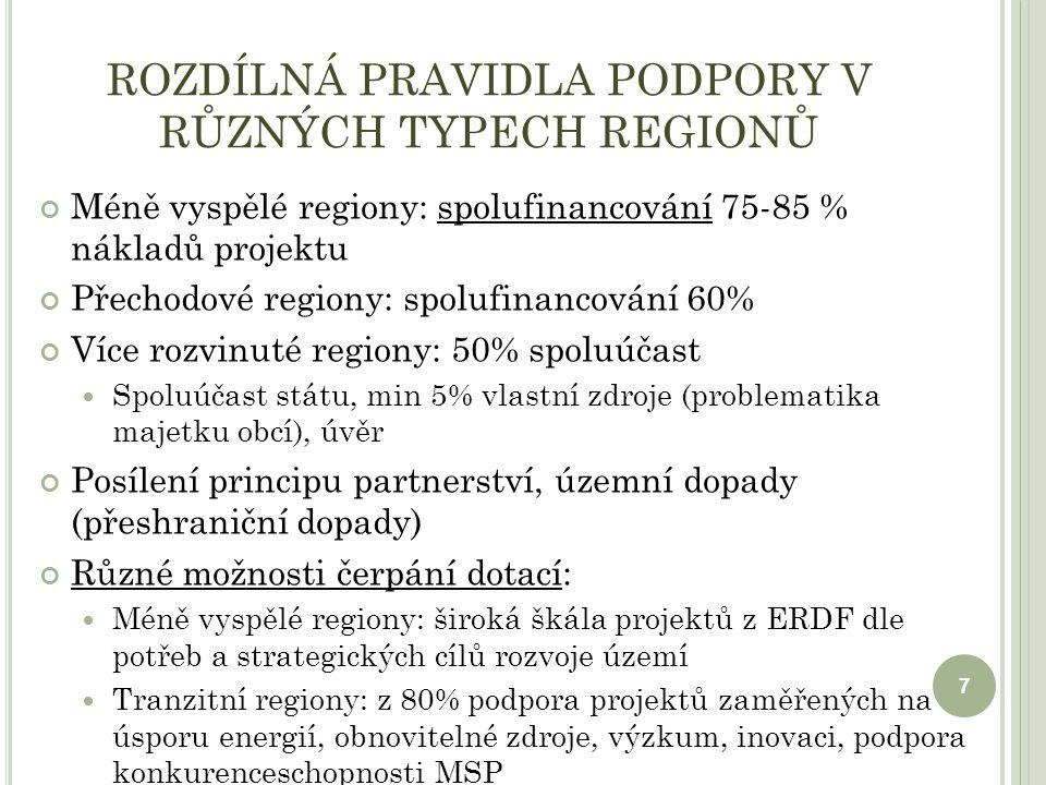 ROZDÍLNÁ PRAVIDLA PODPORY V RŮZNÝCH TYPECH REGIONŮ Méně vyspělé regiony: spolufinancování 75-85 % nákladů projektu Přechodové regiony: spolufinancování 60% Více rozvinuté regiony: 50% spoluúčast Spoluúčast státu, min 5% vlastní zdroje (problematika majetku obcí), úvěr Posílení principu partnerství, územní dopady (přeshraniční dopady) Různé možnosti čerpání dotací: Méně vyspělé regiony: široká škála projektů z ERDF dle potřeb a strategických cílů rozvoje území Tranzitní regiony: z 80% podpora projektů zaměřených na úsporu energií, obnovitelné zdroje, výzkum, inovaci, podpora konkurenceschopnosti MSP 7