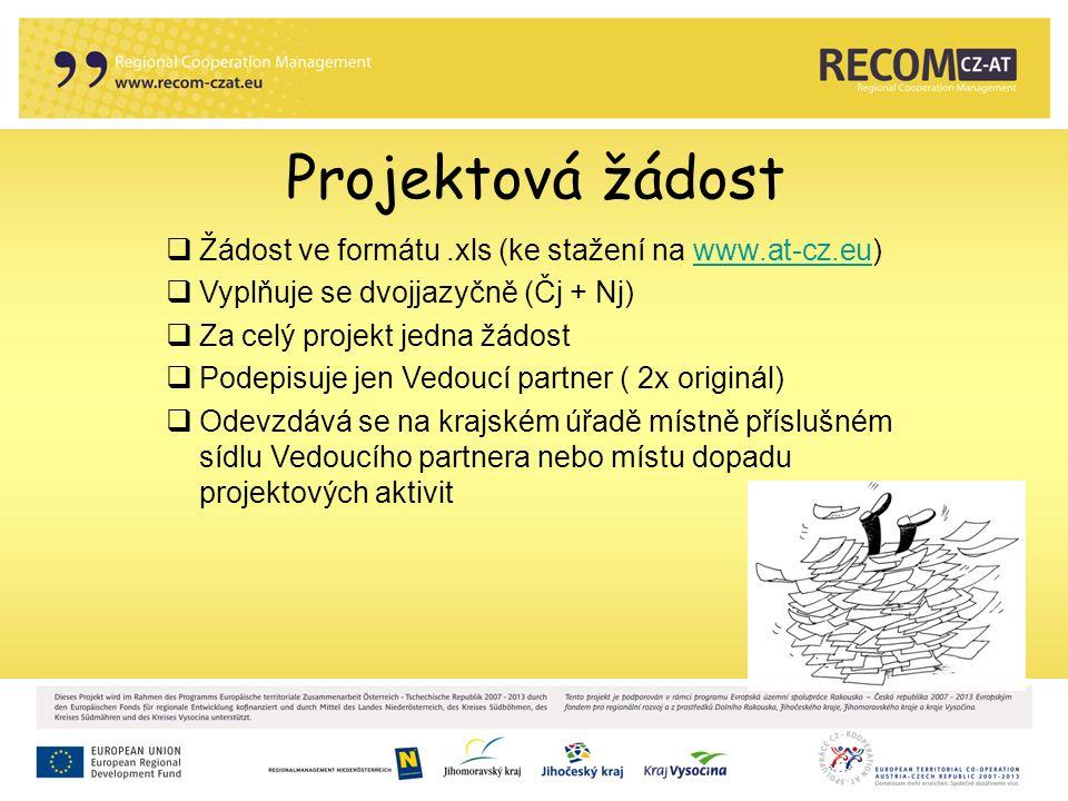 Projektová žádost  Žádost ve formátu.xls (ke stažení na www.at-cz.eu)www.at-cz.eu  Vyplňuje se dvojjazyčně (Čj + Nj)  Za celý projekt jedna žádost  Podepisuje jen Vedoucí partner ( 2x originál)  Odevzdává se na krajském úřadě místně příslušném sídlu Vedoucího partnera nebo místu dopadu projektových aktivit