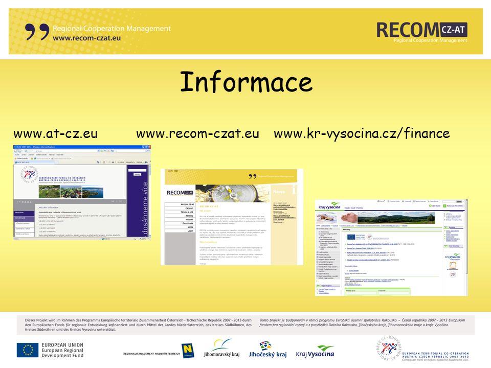Informace www.at-cz.eu www.recom-czat.eu www.kr-vysocina.cz/finance