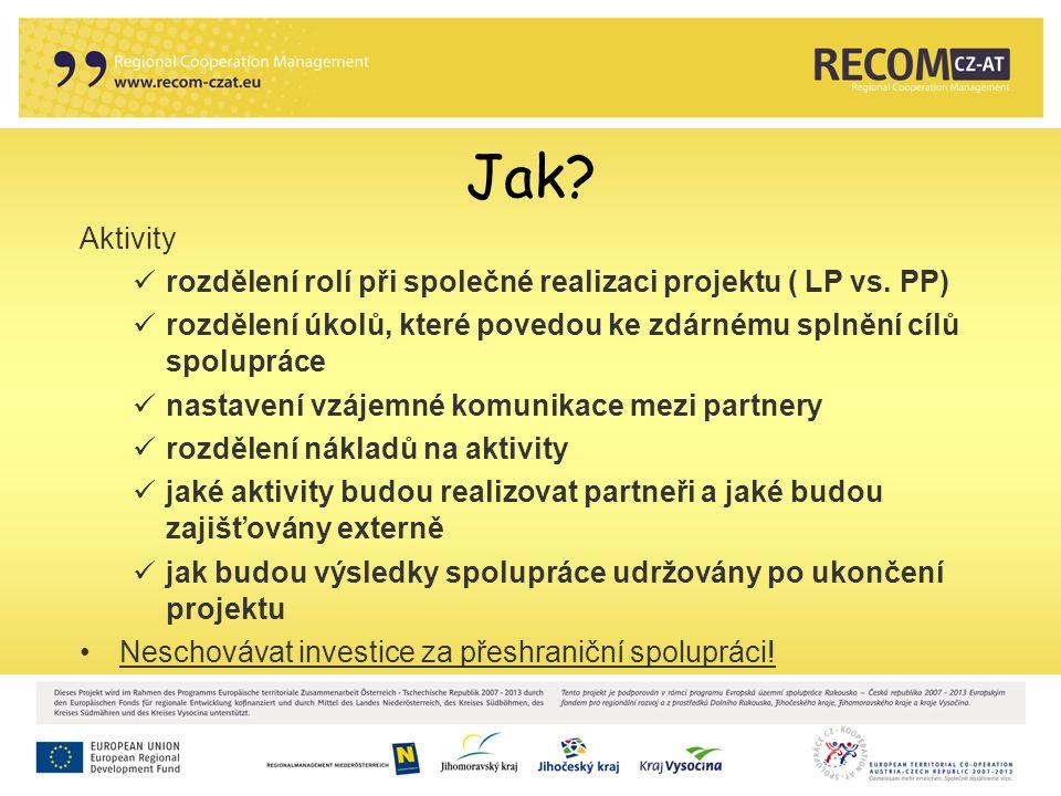 Jak. Aktivity rozdělení rolí při společné realizaci projektu ( LP vs.