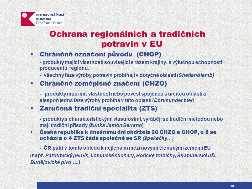 10 Ochrana regionálních a tradičních potravin v EU Chráněné označení původu (CHOP) - produkty mající vlastnosti související s rázem krajiny, s výlučnou schopností producentů regionu.