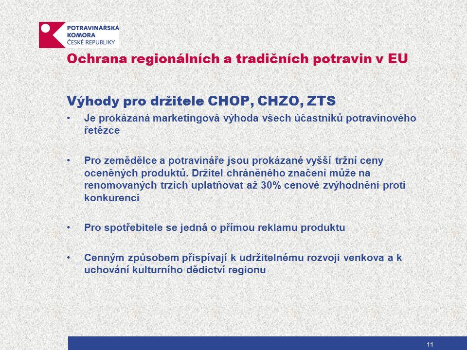 Ochrana regionálních a tradičních potravin v EU Výhody pro držitele CHOP, CHZO, ZTS Je prokázaná marketingová výhoda všech účastníků potravinového řetězce Pro zemědělce a potravináře jsou prokázané vyšší tržní ceny oceněných produktů.