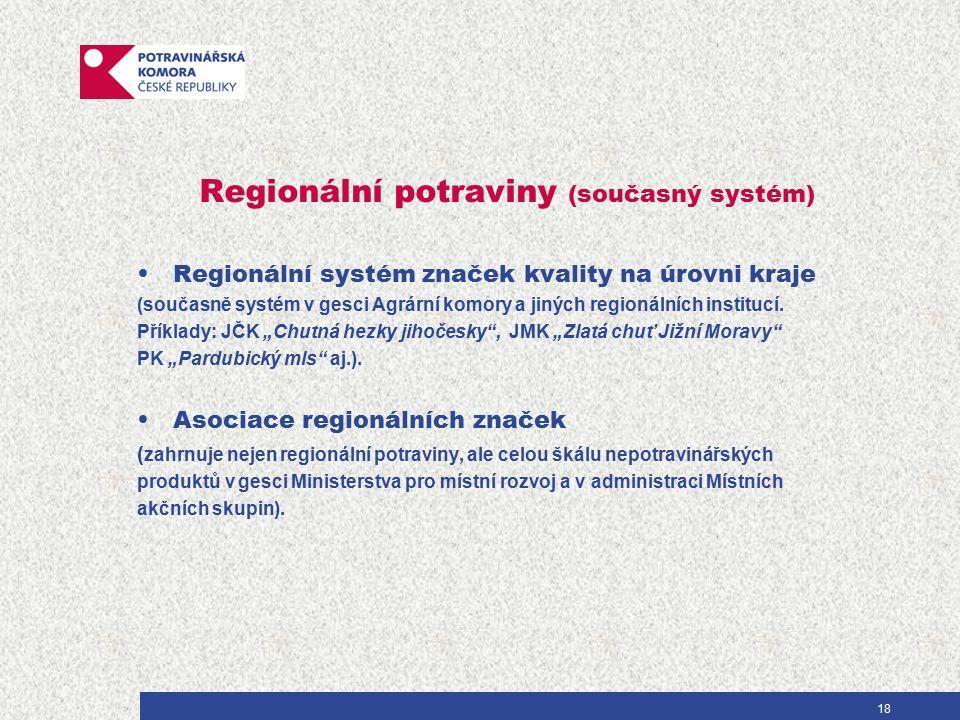 Regionální potraviny (současný systém) Regionální systém značek kvality na úrovni kraje (současně systém v gesci Agrární komory a jiných regionálních institucí.