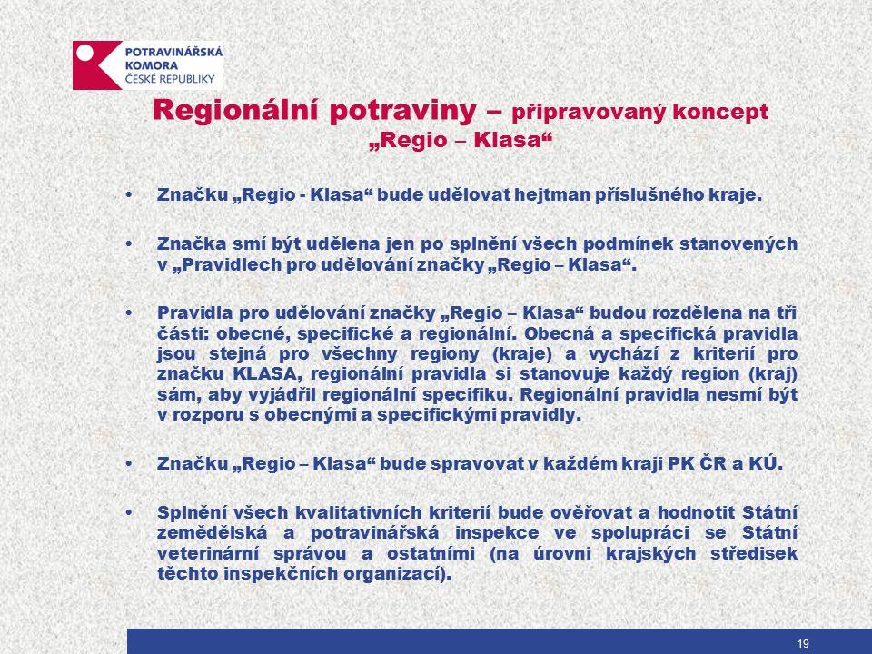 """Regionální potraviny – připravovaný koncept """"Regio – Klasa Značku """"Regio - Klasa bude udělovat hejtman příslušného kraje."""