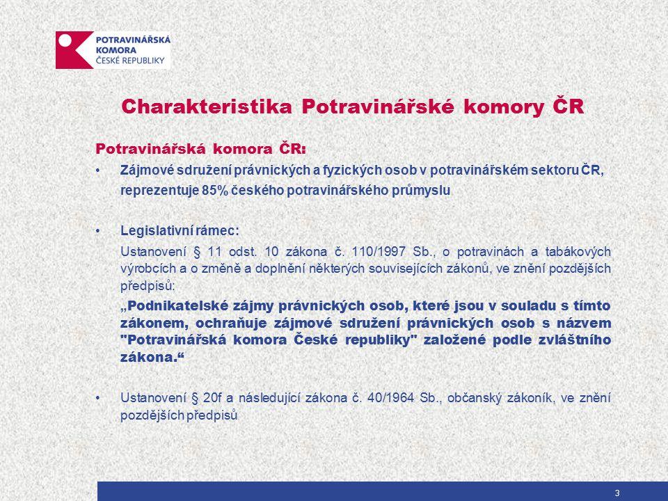 Charakteristika Potravinářské komory ČR Potravinářská komora ČR: Zájmové sdružení právnických a fyzických osob v potravinářském sektoru ČR, reprezentuje 85% českého potravinářského průmyslu Legislativní rámec: Ustanovení § 11 odst.