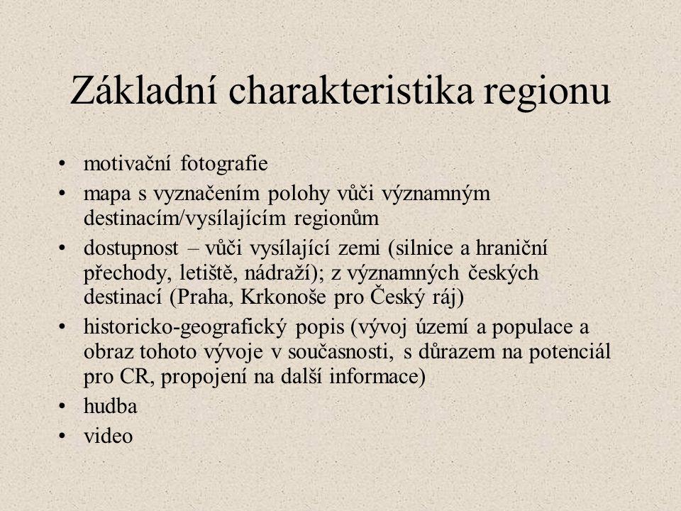 Základní charakteristika regionu motivační fotografie mapa s vyznačením polohy vůči významným destinacím/vysílajícím regionům dostupnost – vůči vysílající zemi (silnice a hraniční přechody, letiště, nádraží); z významných českých destinací (Praha, Krkonoše pro Český ráj) historicko-geografický popis (vývoj území a populace a obraz tohoto vývoje v současnosti, s důrazem na potenciál pro CR, propojení na další informace) hudba video