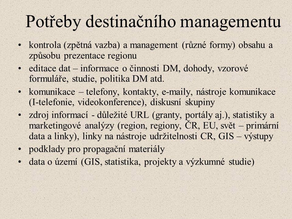 Potřeby destinačního managementu kontrola (zpětná vazba) a management (různé formy) obsahu a způsobu prezentace regionu editace dat – informace o činnosti DM, dohody, vzorové formuláře, studie, politika DM atd.