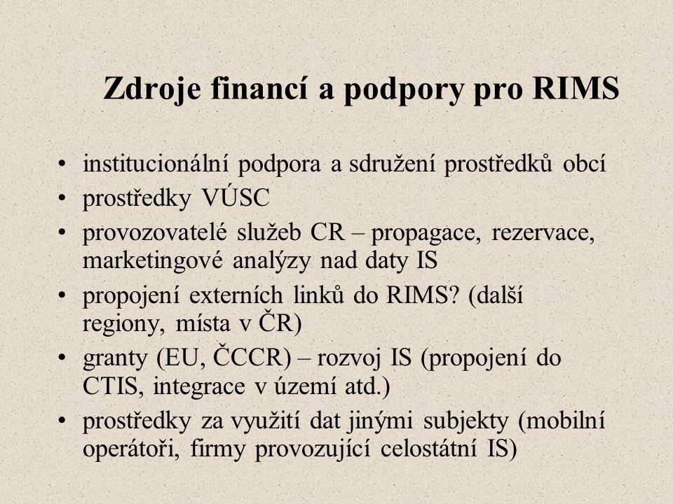 Zdroje financí a podpory pro RIMS institucionální podpora a sdružení prostředků obcí prostředky VÚSC provozovatelé služeb CR – propagace, rezervace, marketingové analýzy nad daty IS propojení externích linků do RIMS.