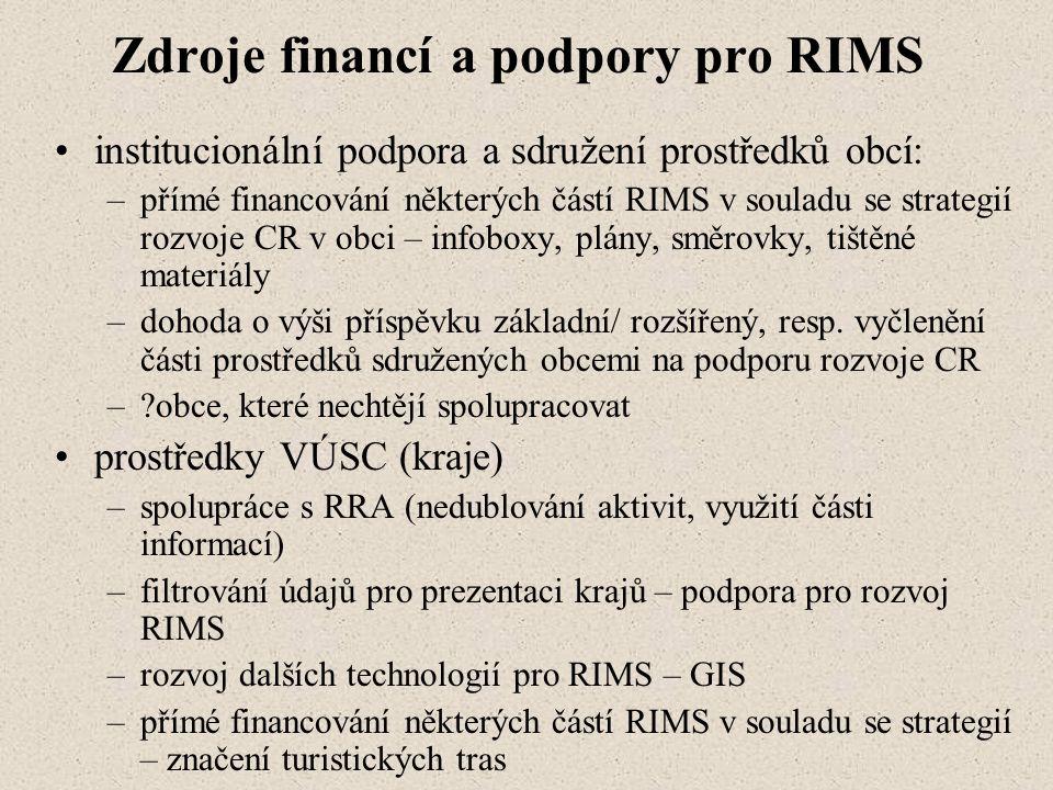 Zdroje financí a podpory pro RIMS institucionální podpora a sdružení prostředků obcí: –přímé financování některých částí RIMS v souladu se strategií rozvoje CR v obci – infoboxy, plány, směrovky, tištěné materiály –dohoda o výši příspěvku základní/ rozšířený, resp.