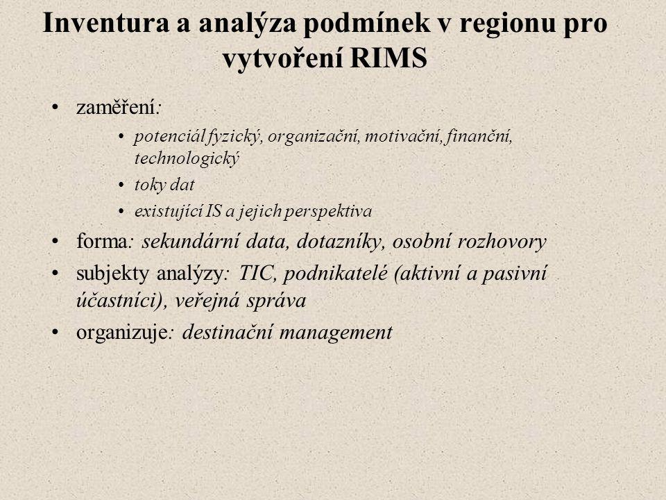 Inventura a analýza podmínek v regionu pro vytvoření RIMS zaměření: potenciál fyzický, organizační, motivační, finanční, technologický toky dat existující IS a jejich perspektiva forma: sekundární data, dotazníky, osobní rozhovory subjekty analýzy: TIC, podnikatelé (aktivní a pasivní účastníci), veřejná správa organizuje: destinační management