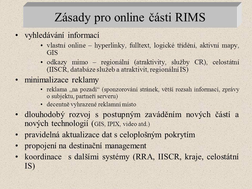 """Zásady pro online části RIMS vyhledávání informací vlastní online – hyperlinky, fulltext, logické třídění, aktivní mapy, GIS odkazy mimo – regionální (atraktivity, služby CR), celostátní (IISCR, databáze služeb a atraktivit, regionální IS) minimalizace reklamy reklama """"na pozadí (sponzorování stránek, větší rozsah informací, zprávy o subjektu, partneři serveru) decentně vyhrazené reklamní místo dlouhodobý rozvoj s postupným zaváděním nových částí a nových technologií ( GIS, IPIX, video atd.) pravidelná aktualizace dat s celoplošným pokrytím propojení na destinační management koordinace s dalšími systémy (RRA, IISCR, kraje, celostátní IS)"""