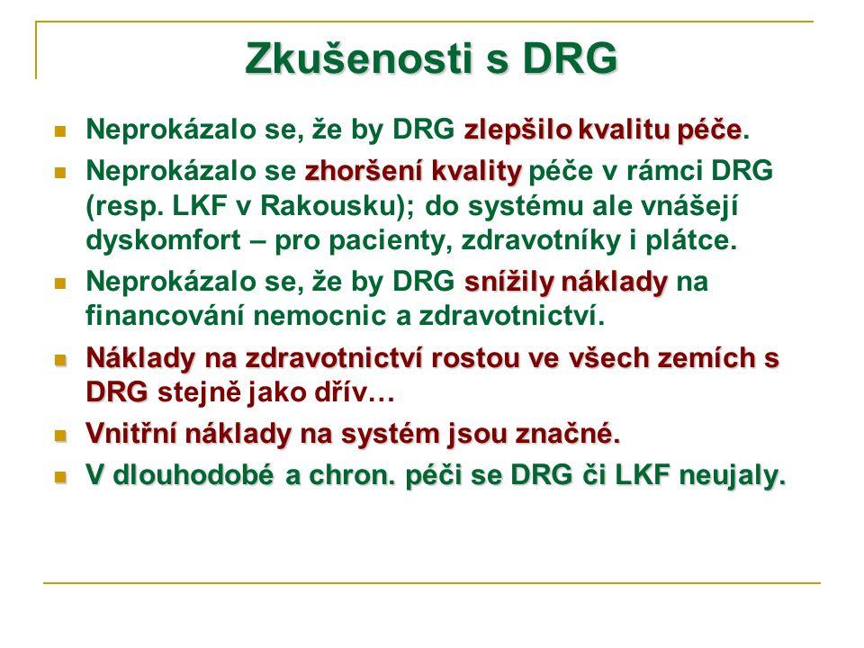 Zkušenosti s DRG zlepšilo kvalitu péče Neprokázalo se, že by DRG zlepšilo kvalitu péče. zhoršení kvality Neprokázalo se zhoršení kvality péče v rámci
