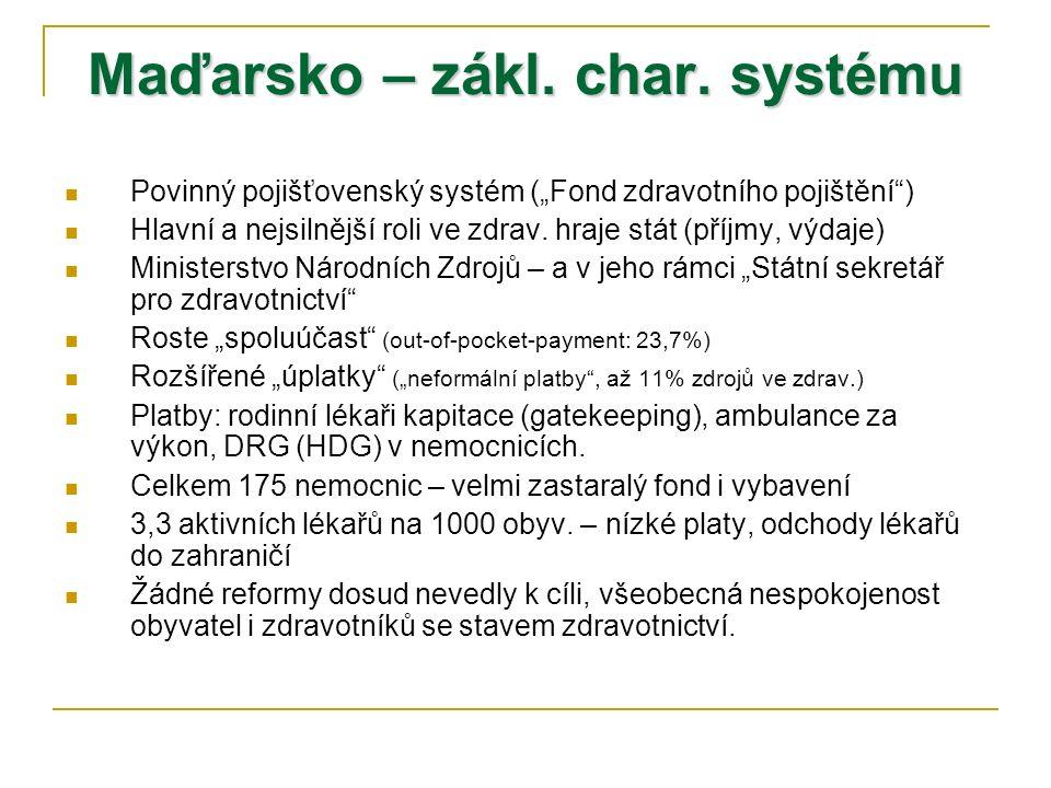 """Maďarsko – zákl. char. systému Povinný pojišťovenský systém (""""Fond zdravotního pojištění"""") Hlavní a nejsilnější roli ve zdrav. hraje stát (příjmy, výd"""