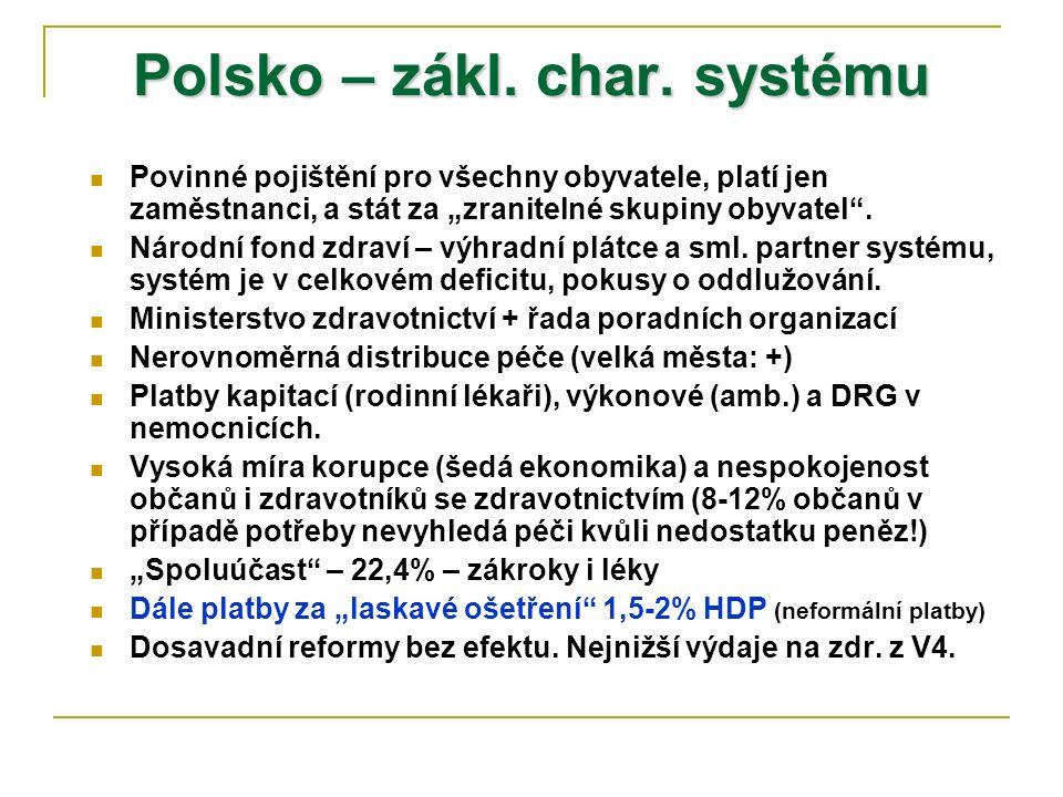 """Polsko – zákl. char. systému Povinné pojištění pro všechny obyvatele, platí jen zaměstnanci, a stát za """"zranitelné skupiny obyvatel"""". Národní fond zdr"""