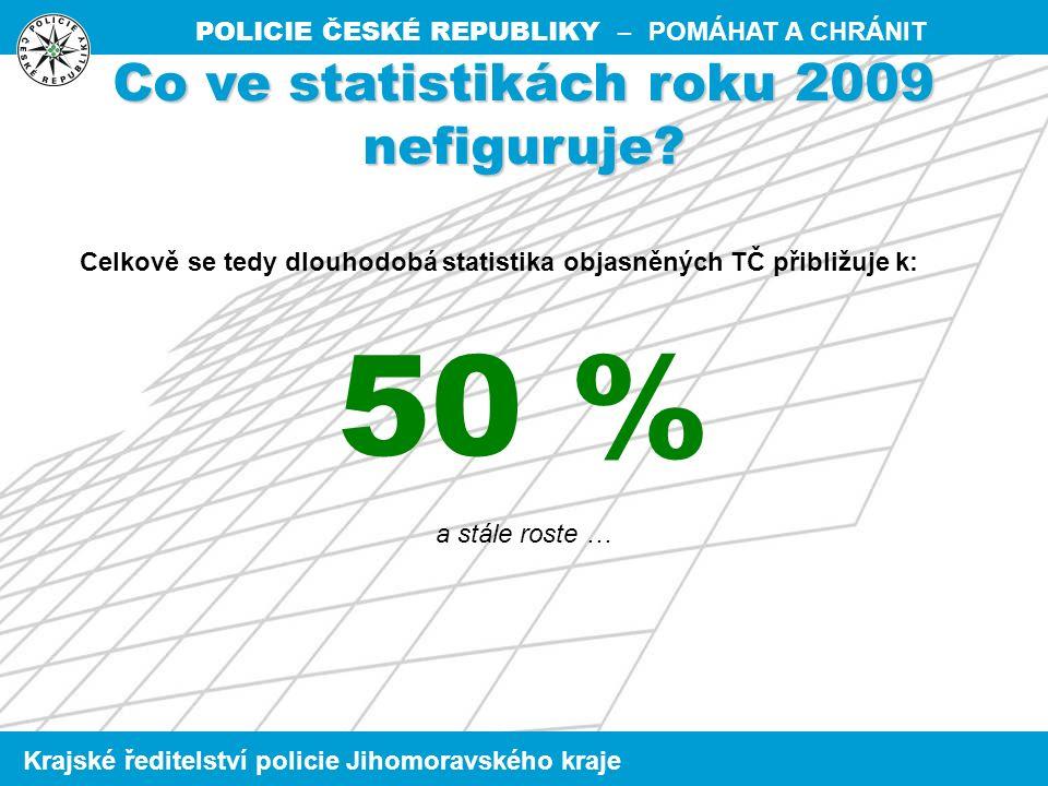 POLICIE ČESKÉ REPUBLIKY – POMÁHAT A CHRÁNIT Krajské ředitelství policie Jihomoravského kraje Co ve statistikách roku 2009 nefiguruje.