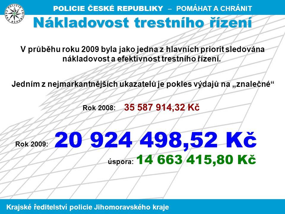 POLICIE ČESKÉ REPUBLIKY – POMÁHAT A CHRÁNIT Krajské ředitelství policie Jihomoravského kraje Nákladovost trestního řízení V průběhu roku 2009 byla jako jedna z hlavních priorit sledována nákladovost a efektivnost trestního řízení.