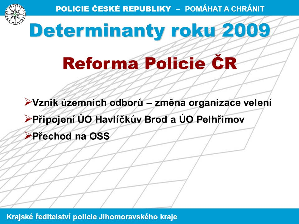 POLICIE ČESKÉ REPUBLIKY – POMÁHAT A CHRÁNIT Krajské ředitelství policie Jihomoravského kraje Informační kriminalita Výsledky za rok 2009 v rámci nového KŘ Zlínského kraje Celkový nápad tr.