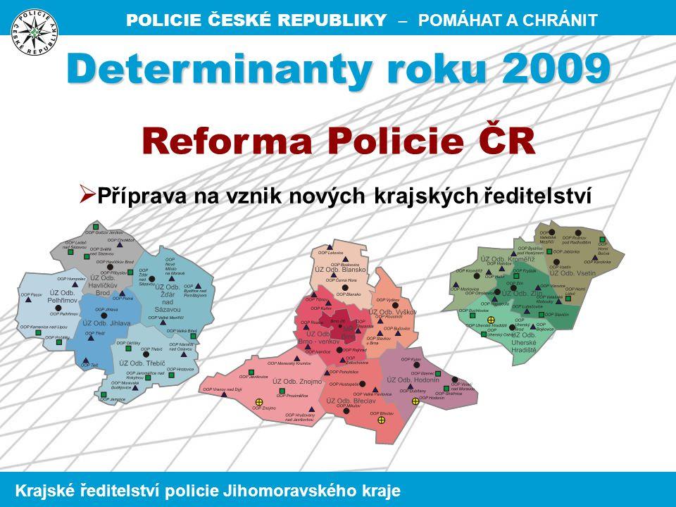 POLICIE ČESKÉ REPUBLIKY – POMÁHAT A CHRÁNIT Krajské ředitelství policie Jihomoravského kraje  nejvyšší nárůst trestné činnostiJihlava + 150 Kroměříž + 117  nejvyšší % nárůst trestné činnosti Kroměříž + 6,7 % Jihlava + 5,7 %  nejvyšší pokles trestné činnostiBrno-město – 1 374 Vsetín – 370  nejvyšší % pokles trestné činnostiVsetín – 12,3 % Brno – 7,9 % Nejvýraznější změny oproti roku 2009